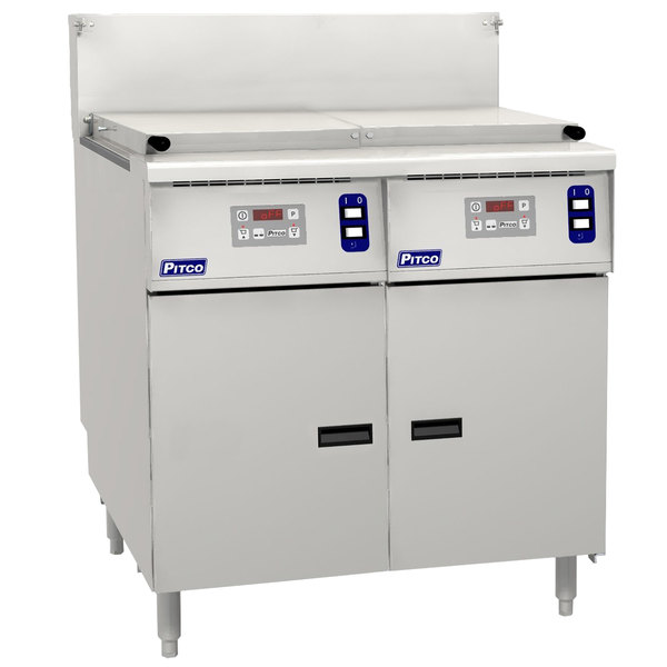 Pitco SRTG14-2-D Natural Gas 17.5 Gallon Two Section Commercial Pasta Cooker with Digital Controls - 110,000 BTU