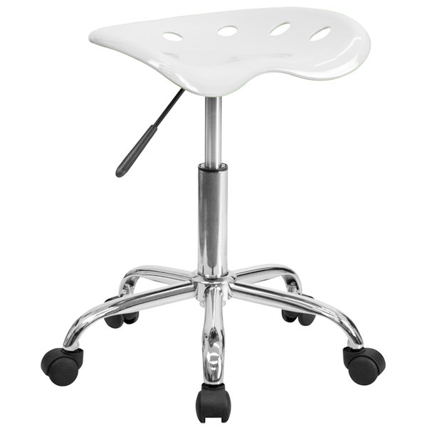 Flash Furniture LF-214A-WHITE-GG White Office Stool with Tractor Seat and Chrome Frame