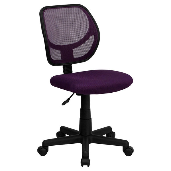 Flash Furniture WA-3074-PUR-GG Mid-Back Purple Mesh Office / Task Chair with Nylon Frame and Swivel Base Main Image 1