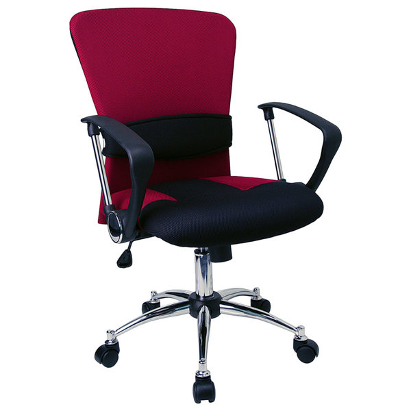 Flash Furniture LF-W23-RED-GG Mid-Back Burgundy Mesh Office Chair with Padded Seat, Chrome Swivel Base, and Polyurethane Arms Main Image 1