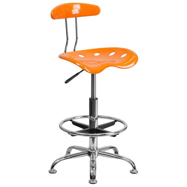 Flash Furniture LF-215-ORANGEYELLOW-GG Orange Drafting Stool with Tractor Seat and Chrome Frame Main Image 1