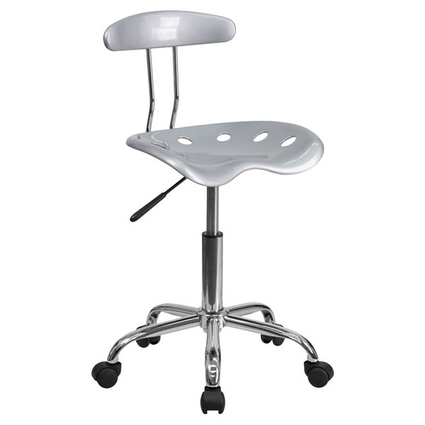 Flash Furniture LF-214-SILVER-GG Silver Office / Task Chair with Tractor Seat and Chrome Frame Main Image 1