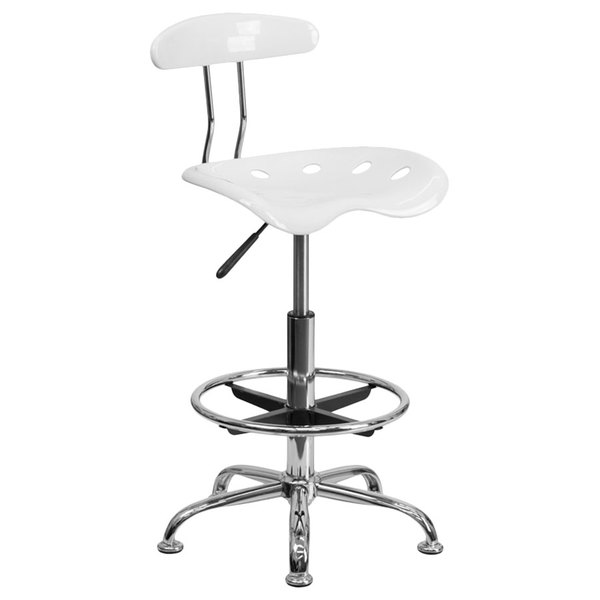 Flash Furniture LF-215-WHITE-GG White Drafting Stool with Tractor Seat and Chrome Frame
