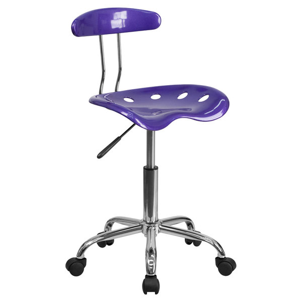 Flash Furniture LF-214-VIOLET-GG Violet Office / Task Chair with Tractor Seat and Chrome Frame Main Image 1