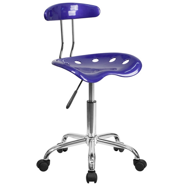 Flash Furniture LF-214-DEEPBLUE-GG Deep Blue Office / Task Chair with Tractor Seat and Chrome Frame