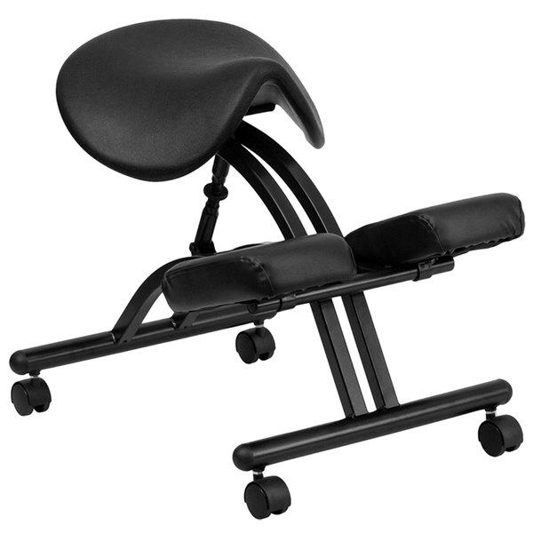Flash Furniture WL-1421-GG Black Ergonomic Mobile Kneeling Office Chair with Black Steel Frame and Saddle Seat