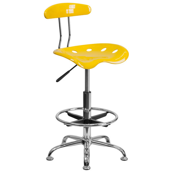 Flash Furniture LF-215-YELLOW-GG Yellow Drafting Stool with Tractor Seat and Chrome Frame Main Image 1