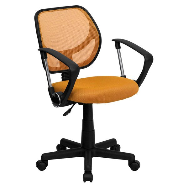 Flash Furniture WA-3074-OR-A-GG Mid-Back Orange Mesh Office / Task Chair with Nylon Frame, Swivel Base, and Polyurethane Arms Main Image 1