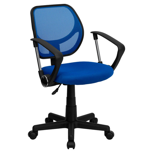 Flash Furniture WA-3074-BL-A-GG Mid-Back Blue Mesh Office / Task Chair with Nylon Frame, Swivel Base, and Polyurethane Arms