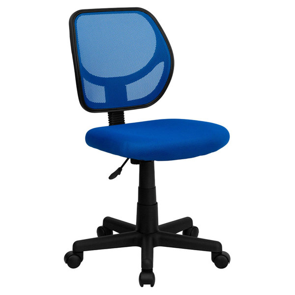 Flash Furniture WA-3074-BL-GG Mid-Back Blue Mesh Office / Task Chair with Nylon Frame and Swivel Base