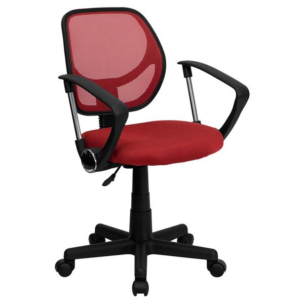 Flash Furniture WA-3074-RD-A-GG Mid-Back Red Mesh Office / Task Chair with Nylon Frame, Swivel Base, and Polyurethane Arms Main Image 1