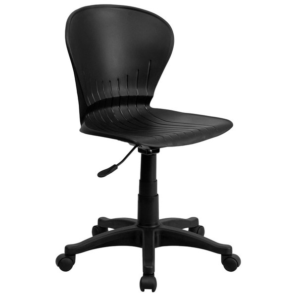 Flash Furniture RUT-A103-BK-GG Mid-Back Black Plastic Office / Task Chair with Nylon Frame and Swivel Base Main Image 1