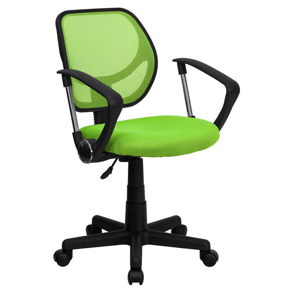 Flash Furniture WA-3074-GN-A-GG Mid-Back Green Mesh Office / Task Chair with Nylon Frame, Swivel Base, and Polyurethane Arms Main Image 1