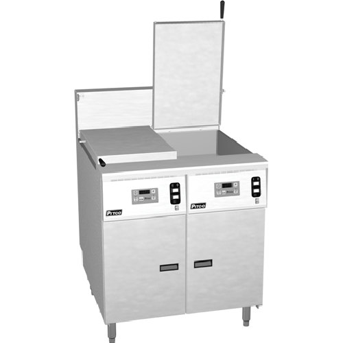 Pitco SRTE14-2-I12 16.5 Gallon Two Section Electric Commercial Pasta Cooker with I12 Computer Controls - 208V, 1 Phase