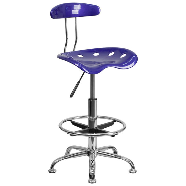 Flash Furniture LF-215-DEEPBLUE-GG Deep Blue Drafting Stool with Tractor Seat and Chrome Frame Main Image 1