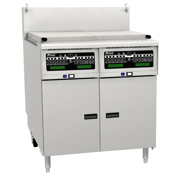 Pitco SRTG14-2-I12 Liquid Propane 17.5 Gallon Two Section Commercial Pasta Cooker with I12 Computer Controls - 110,000 BTU