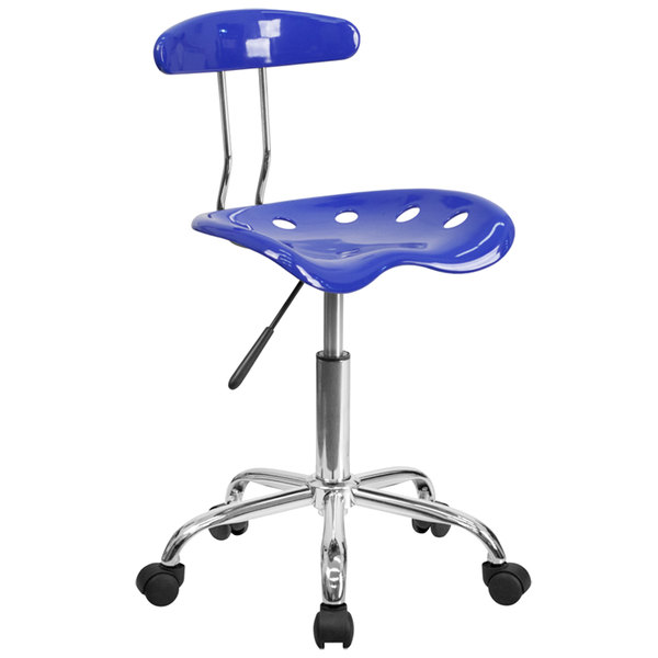 Flash Furniture LF-214-NAUTICALBLUE-GG Nautical Blue Office / Task Chair with Tractor Seat and Chrome Frame Main Image 1
