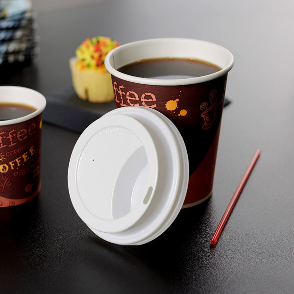 Choice 8 oz. White Hot Paper Cup Travel Lid - 100/Pack