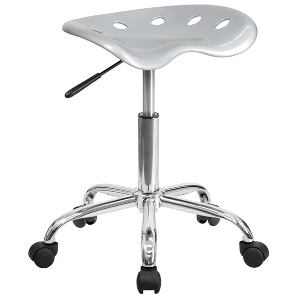 Flash Furniture LF-214A-SILVER-GG Silver Office Stool with Tractor Seat and Chrome Frame Main Image 1