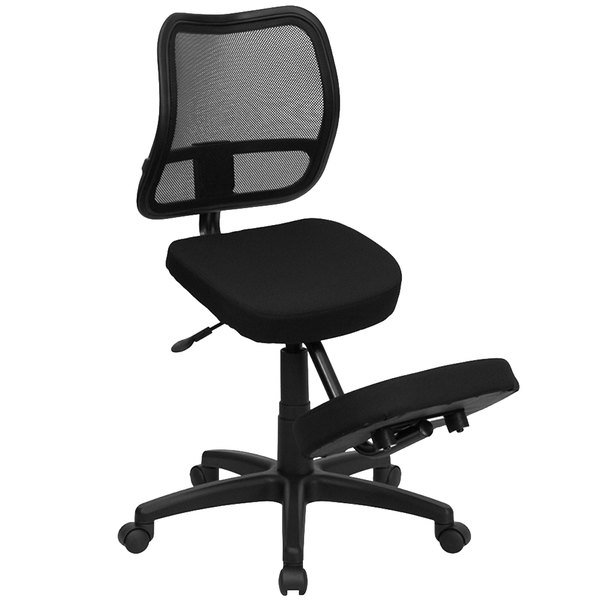 Flash Furniture WL-3425-GG Black Ergonomic Mobile Kneeling Office Chair with Nylon Frame, Swivel Base, and Curved Mesh Back Rest Main Image 1