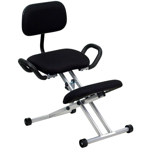 Flash Furniture WL 3439 GG Black Ergonomic Kneeling Office Chair With Silver  Steel Frame, Handles, And Back Rest