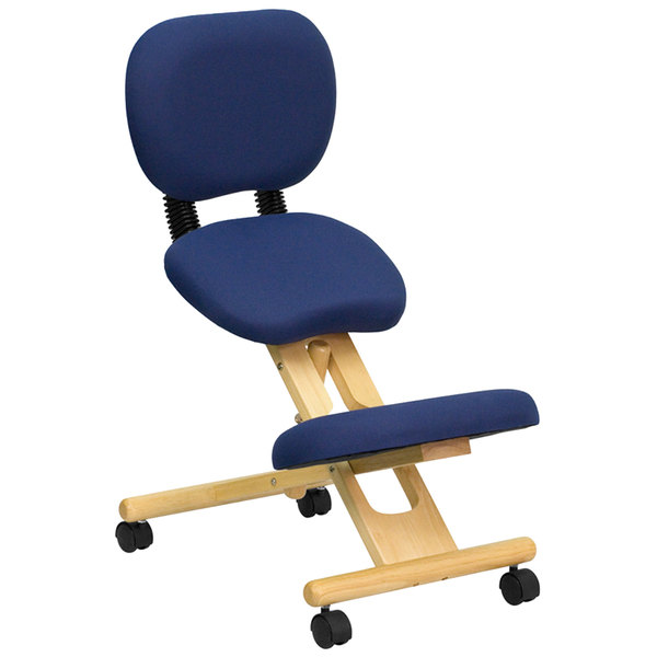 Flash Furniture WL-SB-310-GG Blue Ergonomic Mobile Kneeling Office Chair with Wooden Frame and Reclining Back Rest