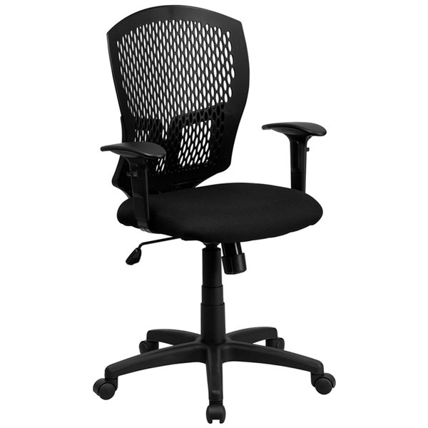 Flash Furniture WL-3958SYG-BK-A-GG Mid-Back Black Mesh Designer Office / Task Chair with Nylon Frame, Swivel Base, and Adjustable Arms Main Image 1