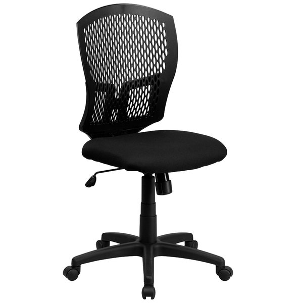 Flash Furniture WL-3958SYG-BK-GG Mid-Back Black Mesh Designer Office / Task Chair with Nylon Frame and Swivel Base Main Image 1