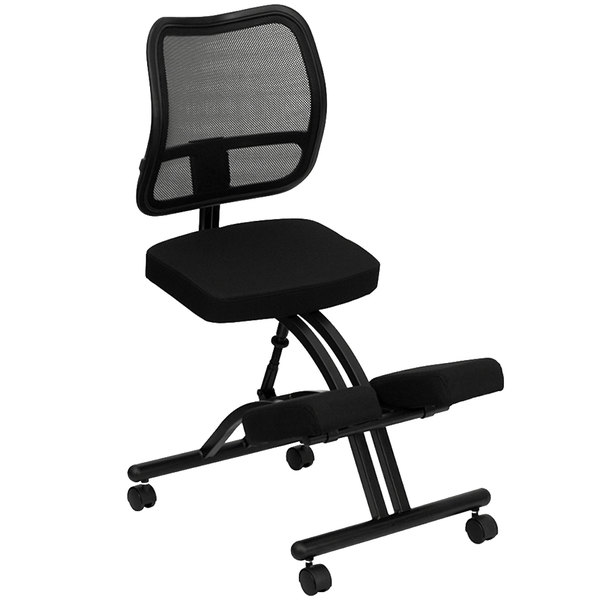 Flash Furniture WL-3520-GG Black Ergonomic Mobile Kneeling Office Chair with Black Steel Frame and Curved Mesh Back Rest