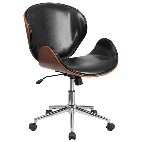 Flash Furniture SD-SDM-2240-5-BK-GG Mid-Back Black Leather Walnut Wood Conference Swivel Chair