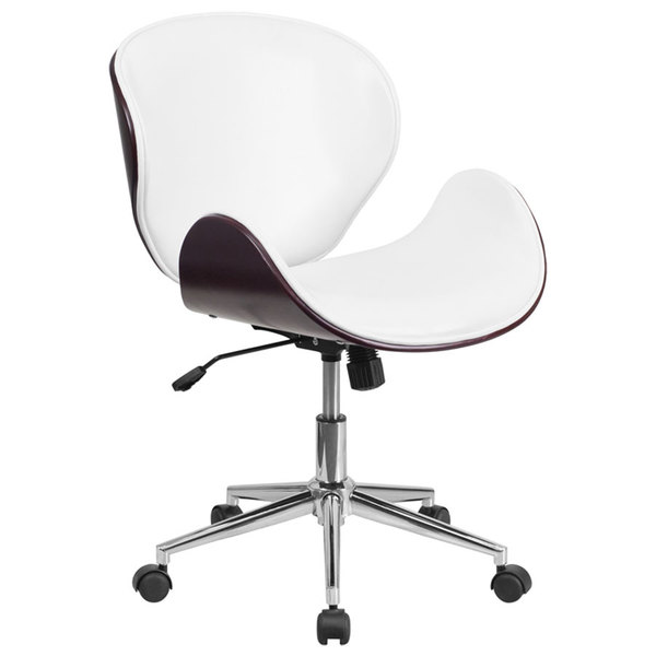 Flash Furniture SD-SDM-2240-5-MAH-WH-GG Mid-Back White Leather Mahogany Wood Conference Swivel Chair Main Image 1