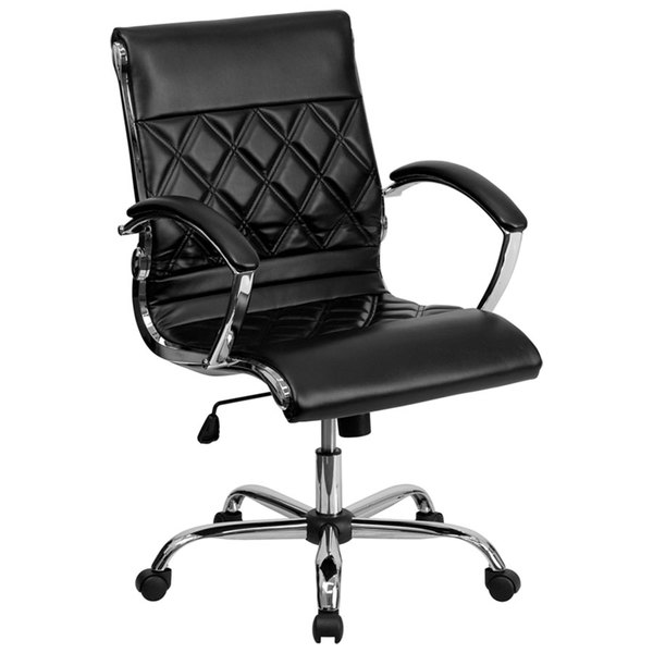 Flash Furniture GO-1297M-MID-BK-GG Mid-Back Black Designer Leather Executive Office Chair with Chrome Arms and Foam-Molded Seat