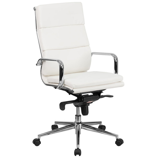 Merveilleux Flash Furniture BT 9895H 6 WH GG High Back White Leather Executive Swivel  Office Chair With ...