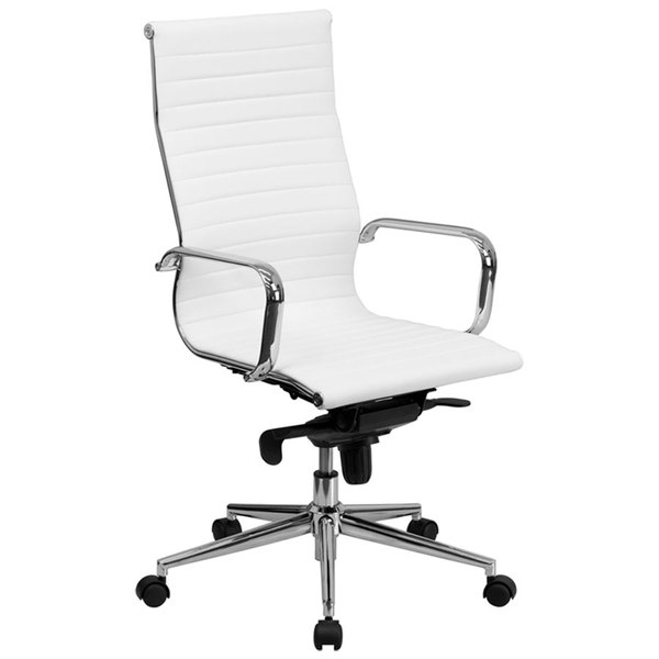 Flash Furniture BT-9826H-WH-GG High-Back White Ribbed Leather Executive Swivel Office Chair with Aluminum Arms and Coat Rack