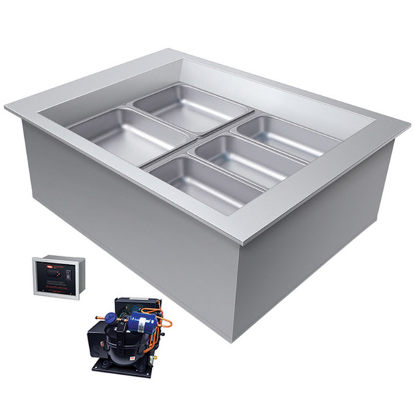 Hatco CWBR-2 Two Pan Slanted Refrigerated Drop-In Cold Food Well with Drain and Remote Condenser - 120V