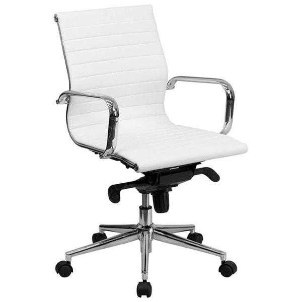 Flash Furniture BT-9826M-WH-GG Mid-Back White Ribbed Leather Executive Swivel Office Chair with Aluminum Arms and Coat Rack