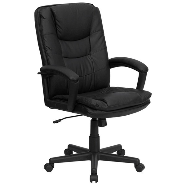 Flash Furniture BT-2921-BK-GG High-Back Black Leather Executive Swivel Office Chair with Leather Arms and Thick Padded Seat Main Image 1