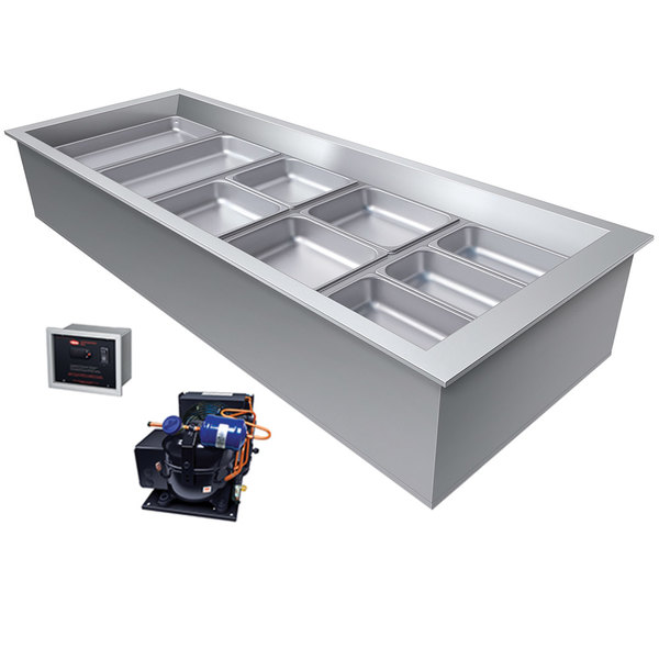 Hatco CWBR-5 Five Pan Slanted Refrigerated Drop-In Cold Food Well with Drain and Remote Condenser - 120V