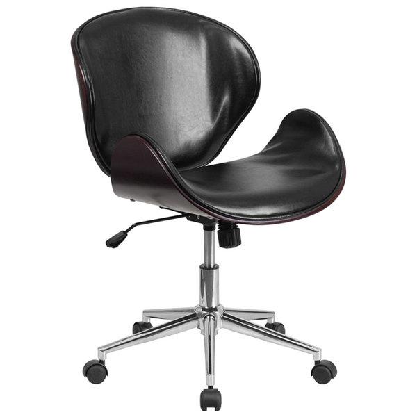 Flash Furniture SD-SDM-2240-5-MAH-BK-GG Mid-Back Black Leather Mahogany Wood Conference Swivel Chair Main Image 1