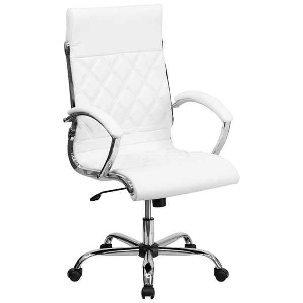 Flash Furniture GO-1297H-HIGH-WHITE-GG High-Back White Designer Leather Executive Office Chair with Chrome Arms and Foam-Molded Seat
