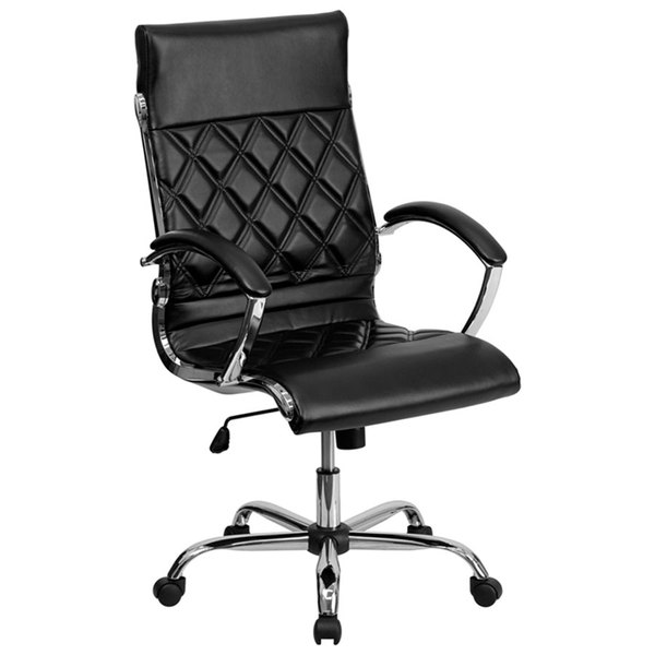 Flash Furniture GO-1297H-HIGH-BK-GG High-Back Black Designer Leather Executive Office Chair with Chrome Arms and Foam-Molded Seat