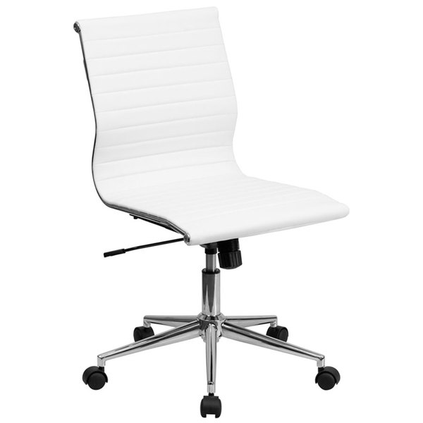 Flash Furniture BT-9836M-2-WH-GG Mid-Back White Ribbed Leather Swivel Conference Chair with No Arms and Coat Rack