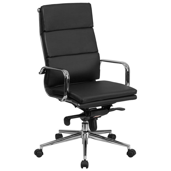 Flash Furniture BT-9895H-6-BK-GG High-Back Black Leather Executive Swivel Office Chair with Chrome Arms and Coat Rack Main Image 1