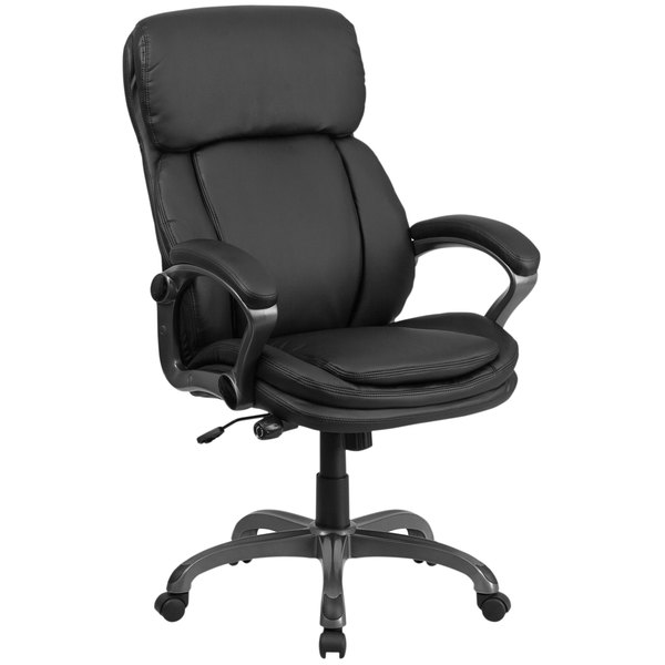 Flash Furniture BT-90272H-GG High-Back Black Leather Executive Swivel Office Chair with Lumbar Support Knob and Loop Arms Main Image 1