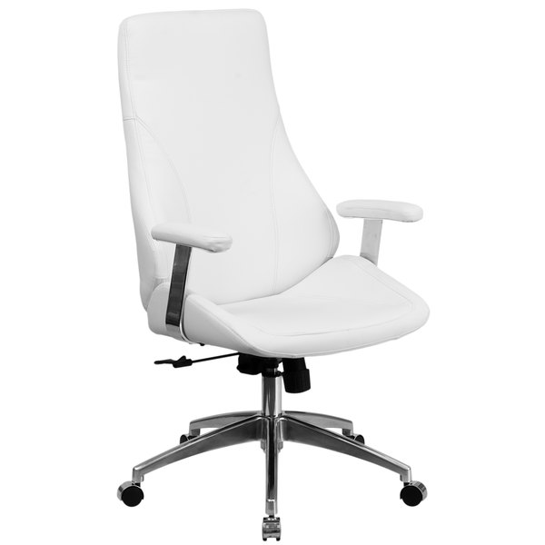 Flash Furniture BT-90068H-WH-GG High-Back White Leather Executive Swivel Office Chair with Padded Chrome Arms Main Image 1