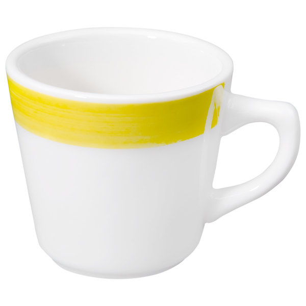 CAC R-1-Y Rainbow 7.5 oz. Yellow Rolled Edge Stoneware Coffee Cup - 36/Case