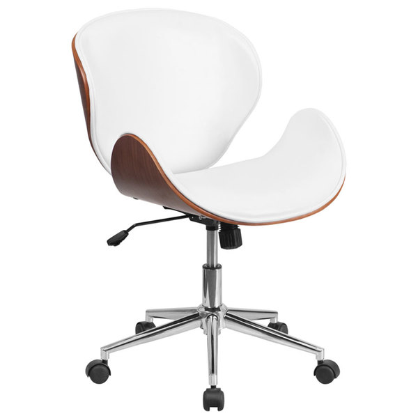 Flash Furniture SD-SDM-2240-5-WH-GG Mid-Back White Leather Walnut Wood Conference Swivel Chair Main Image 1
