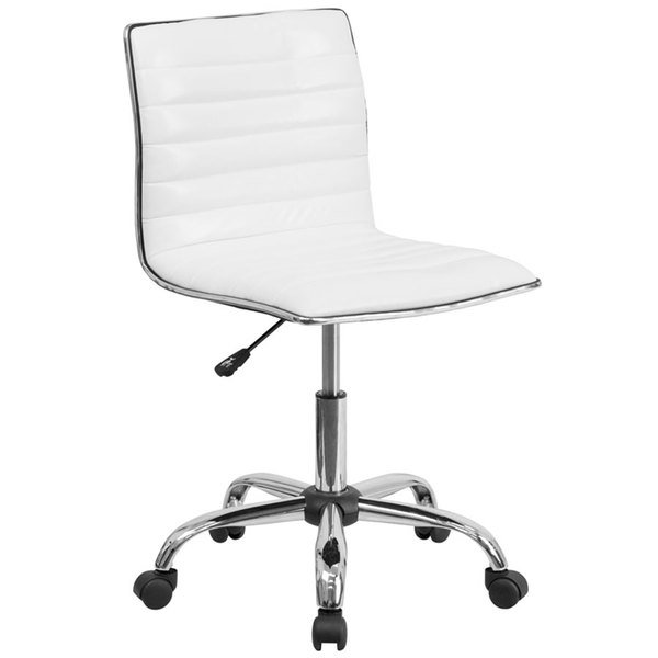 Flash Furniture DS-512B-WH-GG Mid-Back Designer Ribbed White Leather Office Chair / Task Chair Main Image 1