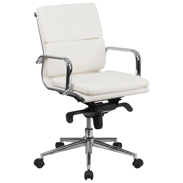 Flash Furniture BT-9895M-WH-GG Mid-Back White Leather Executive Swivel Office Chair with Chrome Arms and Coat Rack Main Image 1