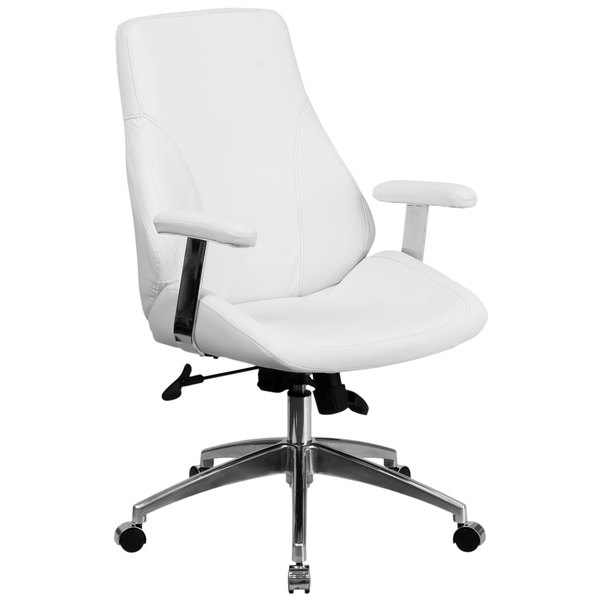 Flash Furniture BT-90068M-WH-GG Mid-Back White Leather Executive Swivel Office Chair with Padded Chrome Arms
